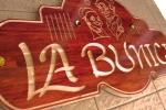 placa firma grvata in lemn, culoare mahon